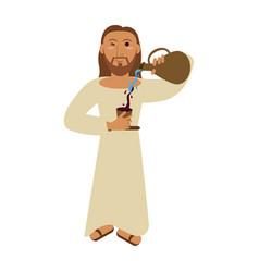 jesuschrist wine miracle cartoon vector image vector image