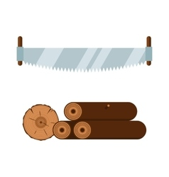 Lumberjack saw and wood tools icons vector image vector image