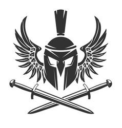 spartan helmet with crossed swords and wings vector image
