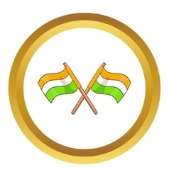 Two crossed flags of India icon vector image vector image