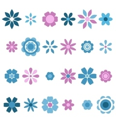 blue and pink flowers set vector image vector image