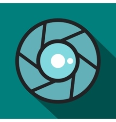 Camera aperture icon flat style vector