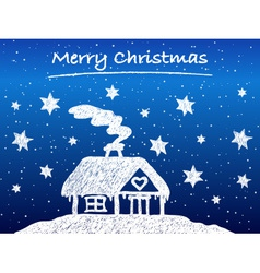 Christmas cottage with snow at night vector image