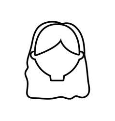 head female girl line vector image