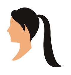 profile head woman with ponytail black hair vector image