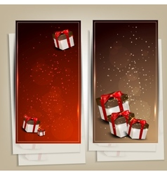 Set of holiday banners with gifts vector image vector image