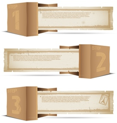Box with old paper and stamps vector image
