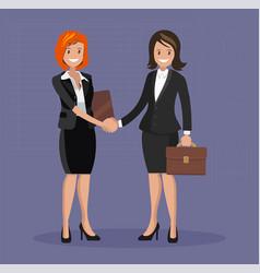 business handshake flat style vector image