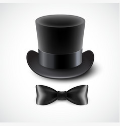 Vintage top hat and a bow tie vector image vector image