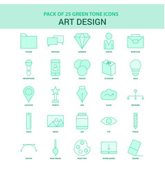 25 green art and design icon set vector image
