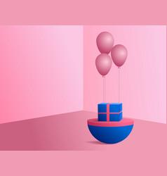 3d modern minimalist mockup pink balloons and vector