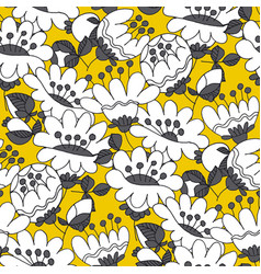 abstract white flowers hand drawn seamless pattern vector image