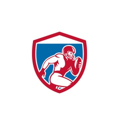 American Football Player Running Shield Retro vector image