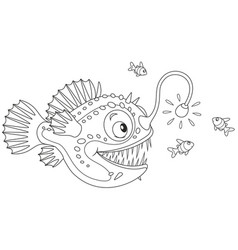 Anglerfish hunting on small fishes vector
