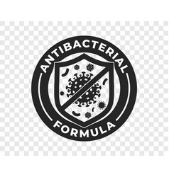 Antibacterial hand gel icon shield and virus logo vector