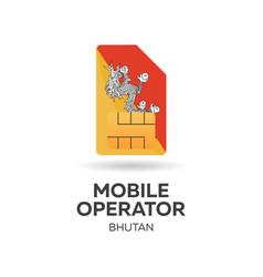 Bhutan mobile operator sim card with flag vector