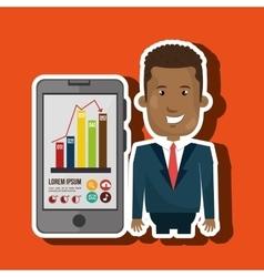 Blazer man red tie smartphone isolated icon design vector