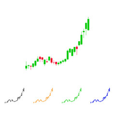 Candlestick chart growth acceleration icon vector