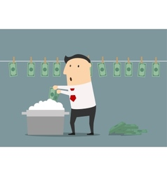 Cartoon businessman laundering illegal money vector image