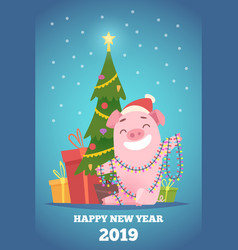 cartoon pig new year background winter xmas vector image