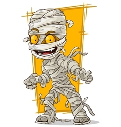 Cartoon scary mummy with yellow eyes vector