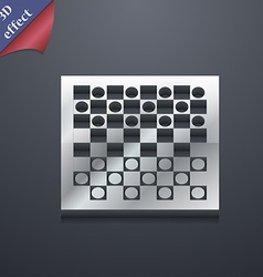 Checkers board icon symbol 3D style Trendy modern vector