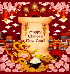 Chinese new year wish greeting card vector