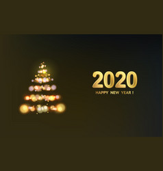 christmas fir-tree with sparks and glow waves over vector image