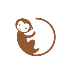 circle monkey icon vector image