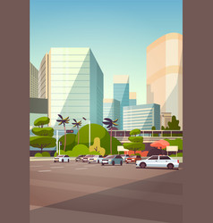 city car parking over skyscraper buildings modern vector image