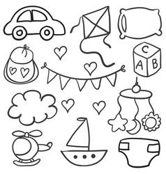 collection batheme object doodles vector image