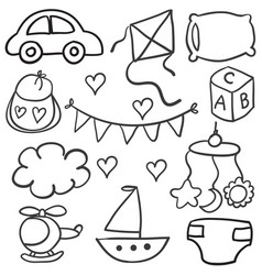 collection of baby theme object doodles vector image