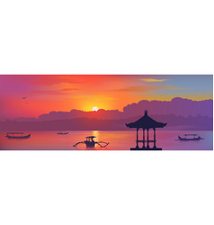 Colorful balinese sunset with traditional gazebo vector