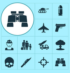 combat icons set collection of cutter aircraft vector image