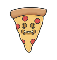 Creepy smiling slice pizza cartoon vector
