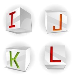 cube alphabet letters IJKL vector image