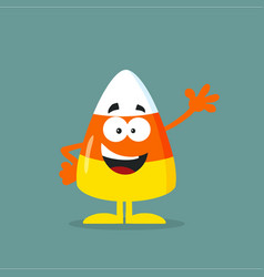 Cute candy corn flat design waving vector