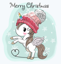 Cute cartoon unicorn in a hat vector