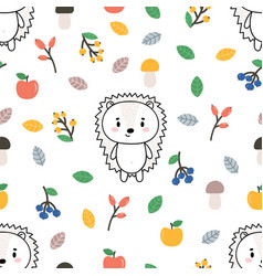 Cute seamless pattern with little hedgehog apples vector