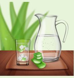 Detox aloe drink composition vector