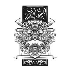 dragon japanese icon line art dr vector image