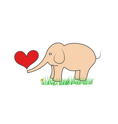 elephant with hearts stands on the grass vector image