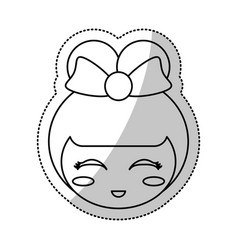 face kokeshi culture chinese line vector image