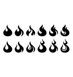 Fire icon set design element vector