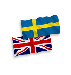 Flags great britain and sweden on a white vector