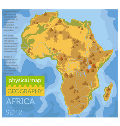 Flat africa physical map constructor elements on vector