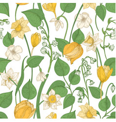 Floral seamless pattern with blooming spring vector