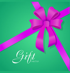 gift bow wide violet ribbons four petals vector image