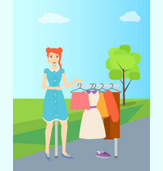 Girl selling second hand clothes garage sale vector