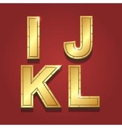 Gold letters alphabet font style I J K L vector